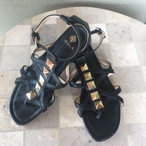 Cute ISOLA Gladiator Black Sandals.